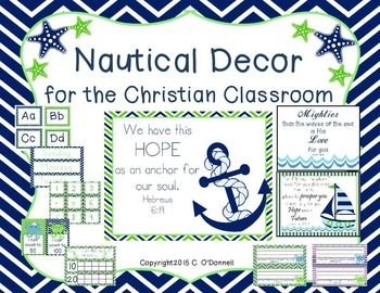 New and on sale! Christian Nautical Classroom Decor