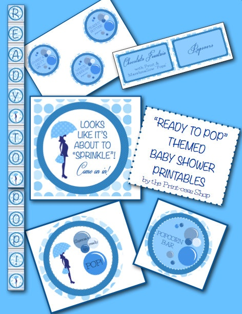 ready to pop blue baby shower printable by the print cess shop on etsy