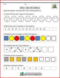 kindergarten math spot the pattern 3