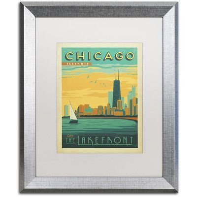 """Trademark Art Chicago II by Anderson Design Group Framed Vintage Advertisement Size: 20"""" H x 16"""" W x 0.5"""" D"""