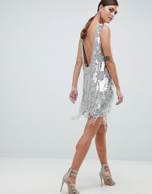 e58ee3e7b5 EDITION Mini Dress In All Over Sequins And Tassel Fringe | dresses ...