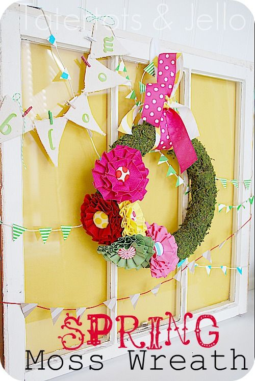 Colorful spring moss wreath