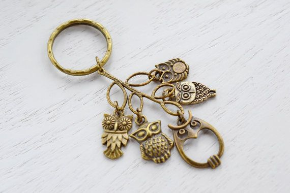 Owl Charm Keychain Keyring, Cluster Charm, Antique Brass, Key Ring Owl Charms, Leaf and Owl, Tree Brass Owl accessory, Bird Charm Keyring, Animal Charm