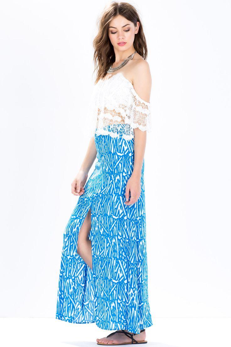 Юбка-макси Размеры: S, M, L Цвет: синий, фуксия/розовый с принтом Цена: 271 руб.  #одежда #женщинам #юбки #коопт