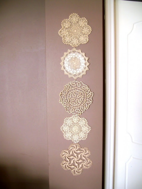 Dishfunctional Designs: Vintage Lace & Doilies: Upcycled and Repurposed This is so cute and I have all these doilies my grandmothers made...I must do this!! ♥ღ♥