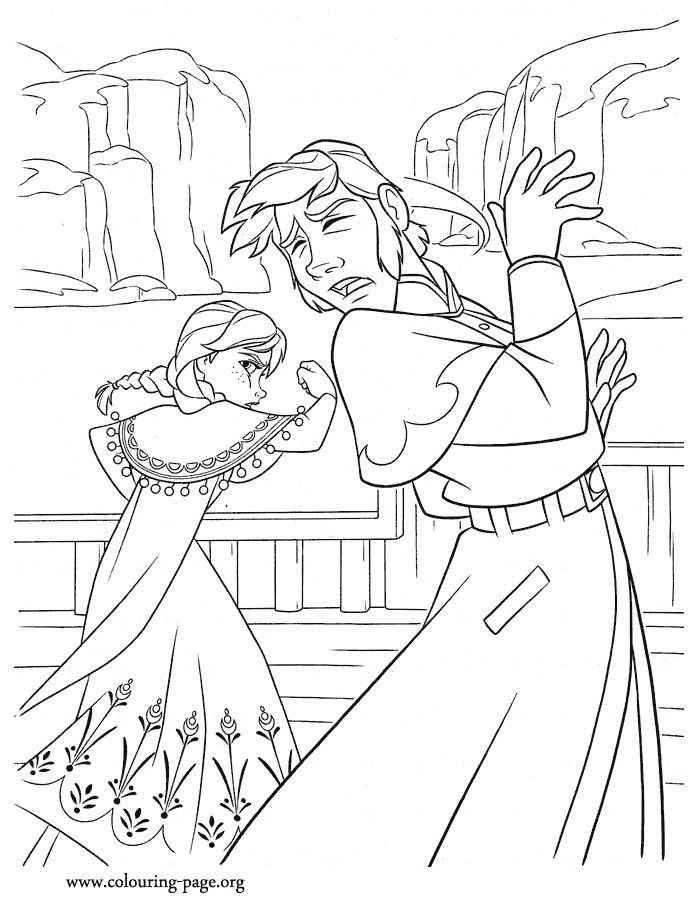 Anna gets angry with prince hans and attacks him another beautiful printable disney frozen coloring