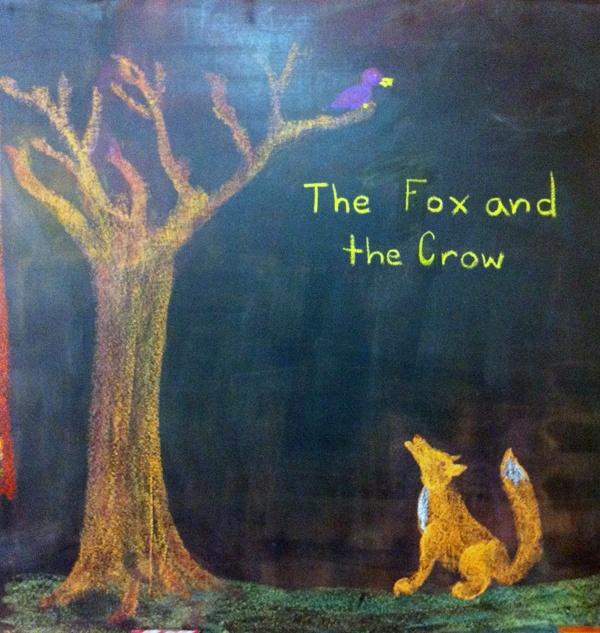 Fox and Crow Chalkboard Art