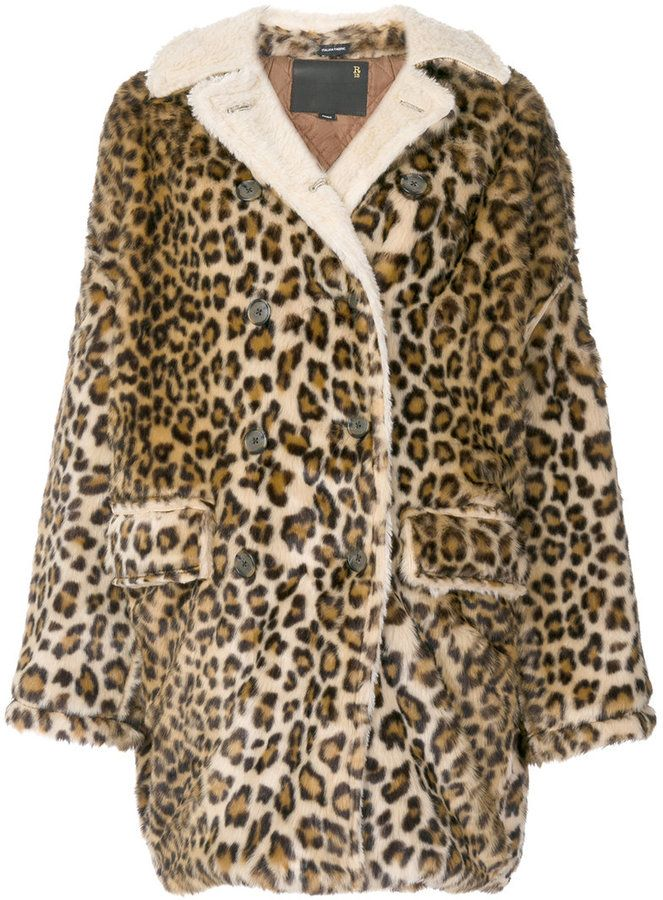fd7607ee1a R 13 leopard print oversized coat   Products   Leopard coat, Coat ...