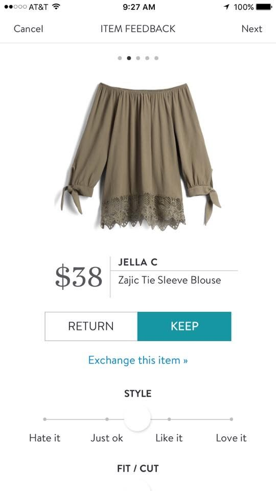 I would love this with jeans & heels for a night out! Stitch Fix 2017 Spring Fashion! Jella C Zajic Tie Sleeve Blouse. Sage green off the shoulder blouse, lace detail at the bottom. #Stitchfix #sponsored
