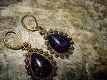 Ohrringe Bronze mit Blaufluss in Tropfenform