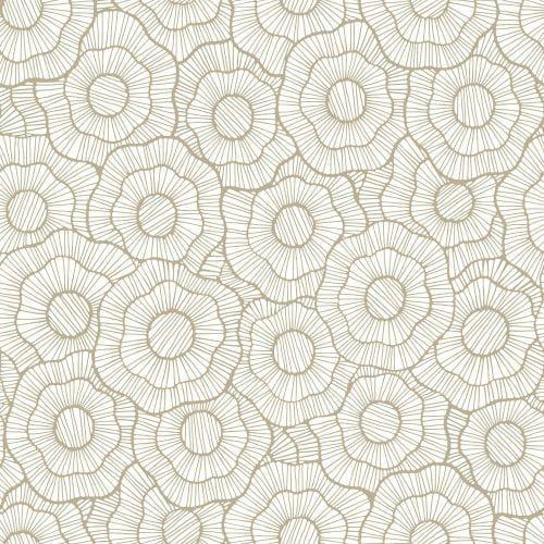 York Wallcoverings ST6003 Paper Muse Wild Poppies Wallpaper, Grey metallic