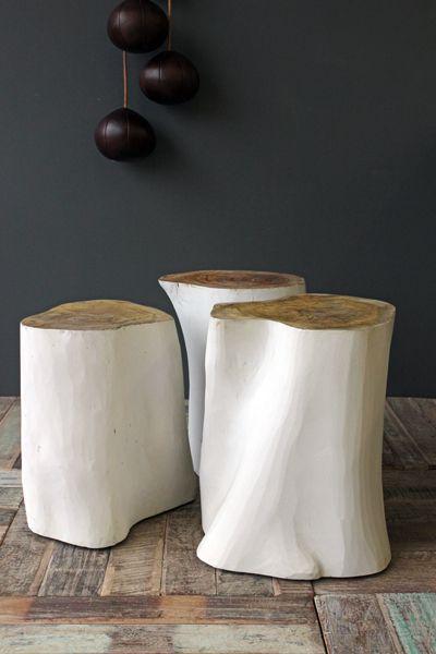painted tree stump stools