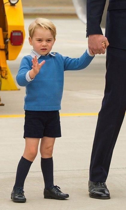 Although he didn't oblige when Prime Minister Justin Trudeau asked for a high five, Prince George waved to the crowd waiting.