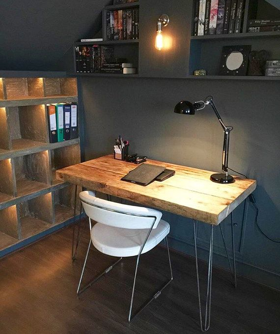 Industrial Chic Reclaimed Custom Hairpin Leg Office Desk Tables. Steel and Wood Metal Hand Made