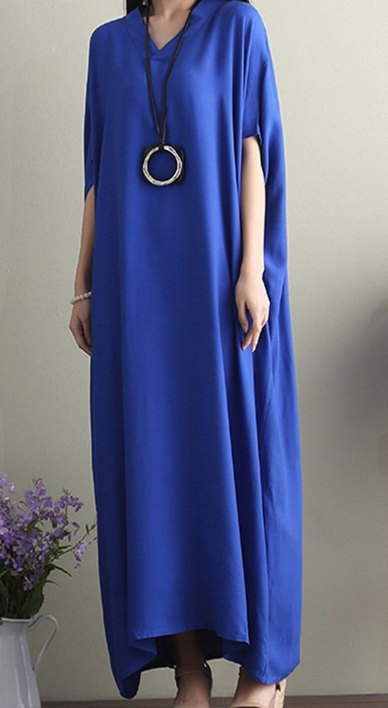 Women loose fit over plus size Bohemian dress cotton long maxi tunic bat sleeve #Unbranded #dress #Casual