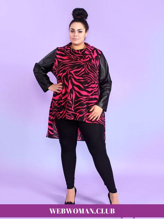 Туника Розовая зебра Yaber Блузы и туники для полных, футболки, болеро, топы, туника Розовая зебра Yaber