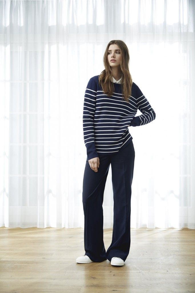 """The sailor's dream come true is a mathematical equation of horizontal stripes + wide leg pants. Executed in navy and you can say hello nautical getaway for two. We aren't equipped to teach you rope knots or the difference between the stern vs. the hull, but we can promise you'll look like an """"I'm on a boat"""" regular — and isn't that what's most important, anyways?"""