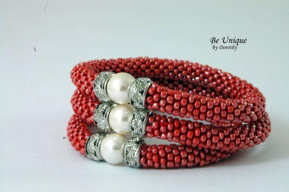 Glass Beaded Crochet BRACELET roll on bracelet by BeUniqueGallery