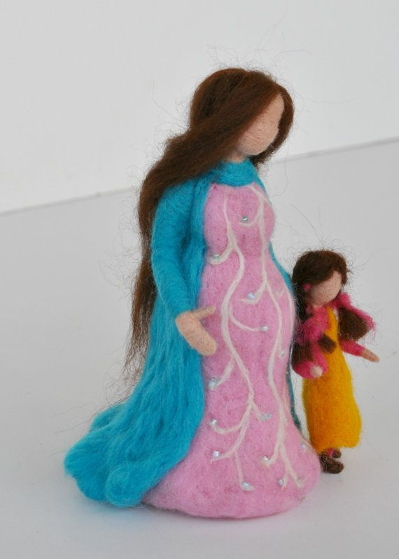 Needle felted Waldorf Doll -Mother and child