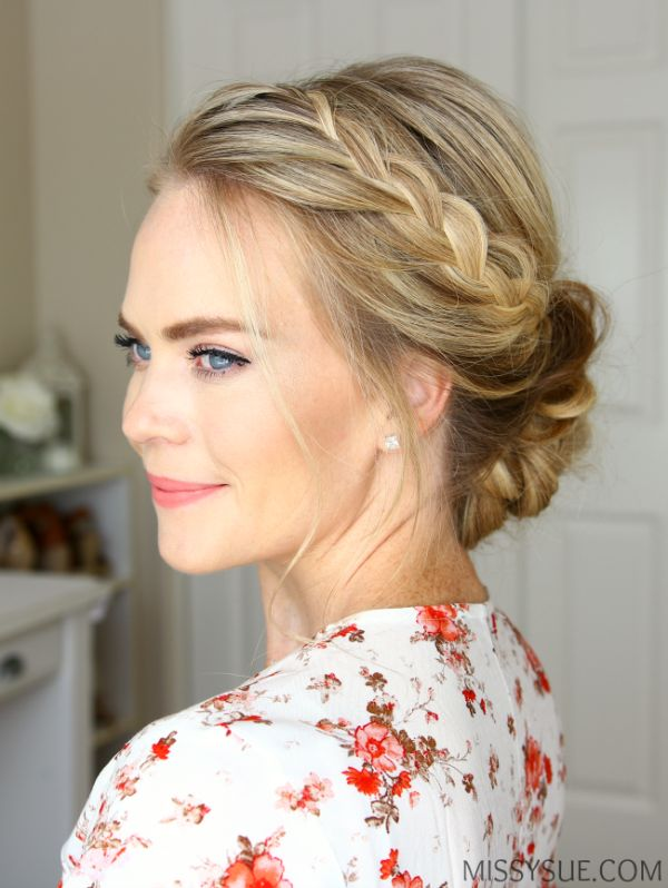This is a lovely way to have an updo without pieces coming down onto your face, whilst still having a side parting!