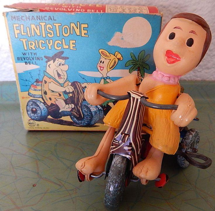 1962 Flintstones Wilma Flintstone Tricycle IN BOX Wind-up Marx Hanna-Barbera    eBay