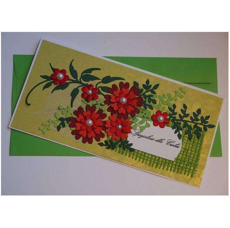 #xantosia #kartka #card #bestwishes #greetingscard #życzenia #recznierobiona #handmade #papercraft #embossing #zielony #green #czerwony #red #kwiaty #flower #bloom #flora #liście #leafs