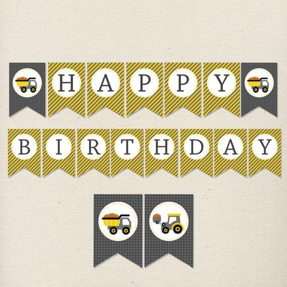 Construction Site Birthday Banner // Backhoe Birthday