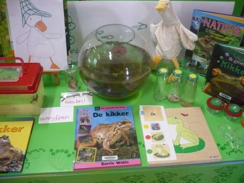 Thematafel altijd leuk om te maken, samen met kikkervisjes in een kom. En dan samen met de kinderen de ontwikkeling van kikkerdril naar kikker van dichtbij te zien!