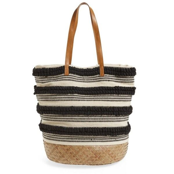 Women's Sole Society Woven Bottom Tote (1.062.375 IDR) ❤ liked on Polyvore featuring bags, handbags, tote bags, black, straw tote bags, striped beach tote, straw tote beach bag, striped tote and stripe tote