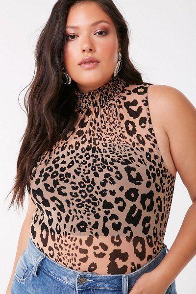 FOREVER21 PLUS Plus Size Leopard Print Bodysuit
