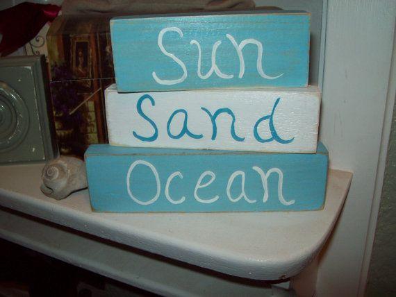 Shabby Beach decor sun sand ocean shelf sitter signs Beach cottage,shabby chic,Beach bedroom decor,Beach bathroom