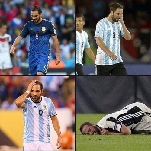 Gonzalo Higuaín y las finales:  2014 Final del Mundial  2015 Final Copa America  2016 Final Copa America  2017 Final Champions League