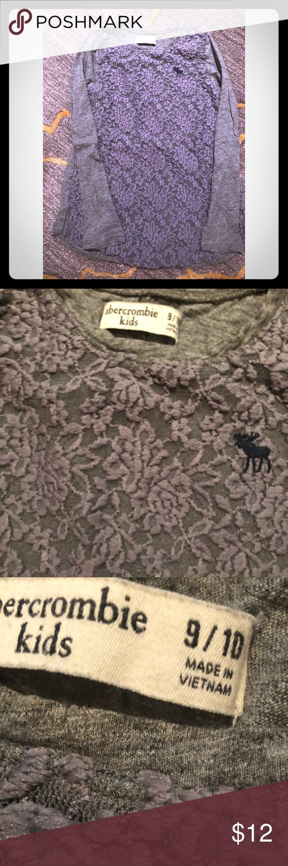 Abercrombie Girls Top Size 9/10 Abercrombie Girls Top Size 9/10 in good condition.  Gray with gray lace.  From a smoke/pet free home. abercrombie kids Shirts & Tops Tees - Long Sleeve