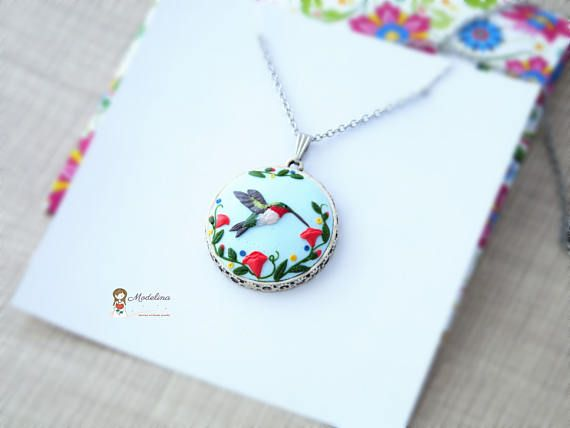 Bird clay sculpted necklace hummingbird birthday gift for
