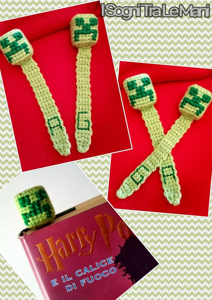 -Segnalibro Minecraft- -Crochet- -Bookmark-