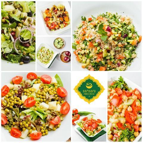 Aprecierea diferenţelor şi savoarei fiecărei legume nu este în nici un alt preparat culinar mai vădită ca în salate, produse în care legumele îşi păstrează identitatea.  Vă propunem, aşadar, următoarele noastre salate: salată cu fasole şi capere (vegană), salată de cartofi cu quinoa (vegană), salată de citrice cu avocado (vegană), tabouleh cu cuşcuş (vegană), salată cu cartofi şi mazăre (vegetariană/vegană), salată verde cu tofu (vegană) şi salată de năut (vegană).