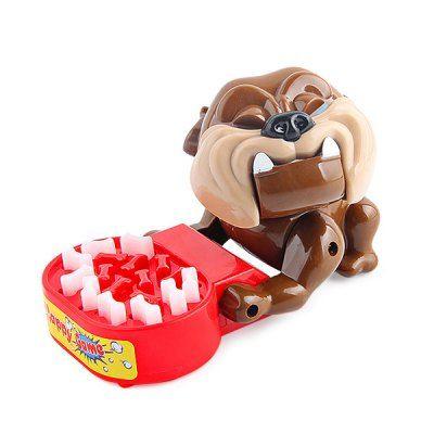 Funny Bad Dog Gnaw Bones Prank Game Creative Parent-child Interactive Toy - BROWN