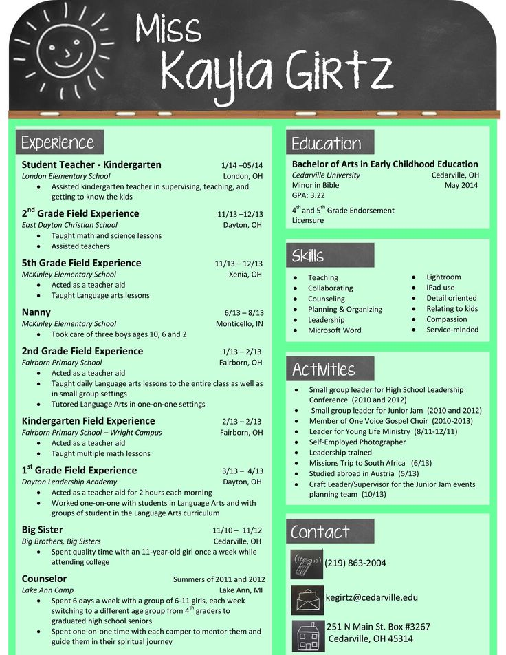 Elementary Teacher Chalkboard Resume Teaching Good