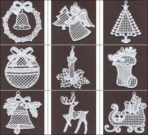 """""""FSL Dazzling Christmas 3"""" includes 10 exquisite, free standing lace ornaments for 4x4 hoops for your Christmas tree, card inserts and more!"""