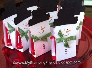 MyStampingFriends - Two Tags die for the snowman base, modern label punch and the curly label punch for his hat. Finish him off with a 3/8 inch stitched satin ribbon in gumball green as his scarf, put the kit-kats inside and seal it up.