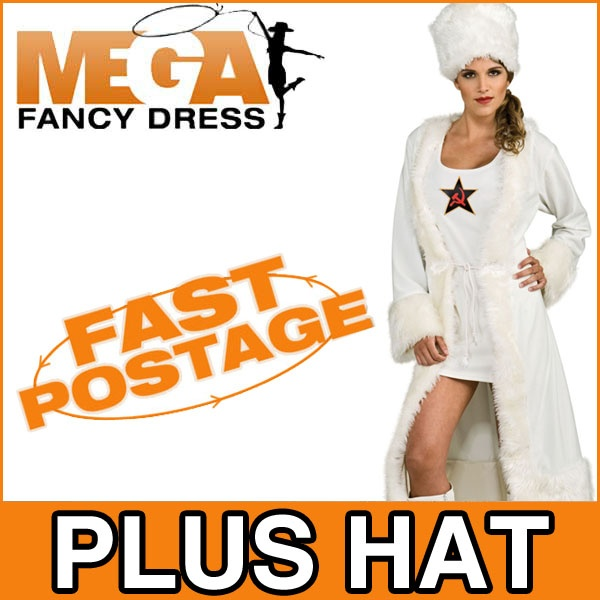 White Russian Spy Fancy Dress James Bond 007 Ladies Costume Outfit + Hat UK 8-14 | eBay