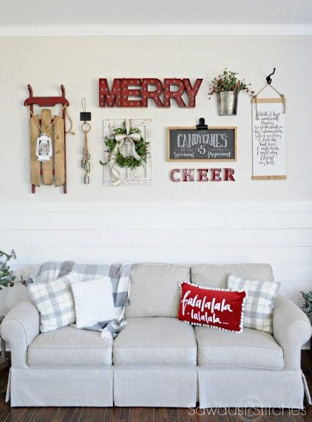 If your dream Christmas decorations contain the classic red and green color scheme along with charming winter prints then this holiday home tour is right up your alley. Check out how they decorate their living room and entryway to get inspiration for your space.