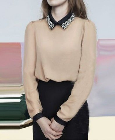 Beads Decoration Long Sleeves Blouse     - Clothing