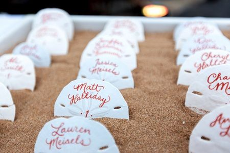 Beach #Wedding Ideas - Sand Dollar Escort Cards