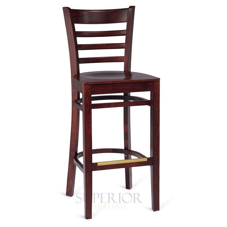 Dark Mahogany Wood Ladderback Commercial Bar Stool with Veneer Seat