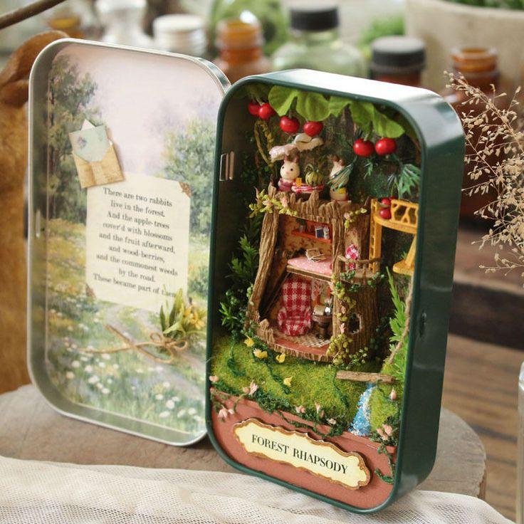 ドールハウスdiyミニチュア木製パズルドールハウスminiaturas家具玩具ハウス人形用誕生日ギフトボックスシアタートリロジー