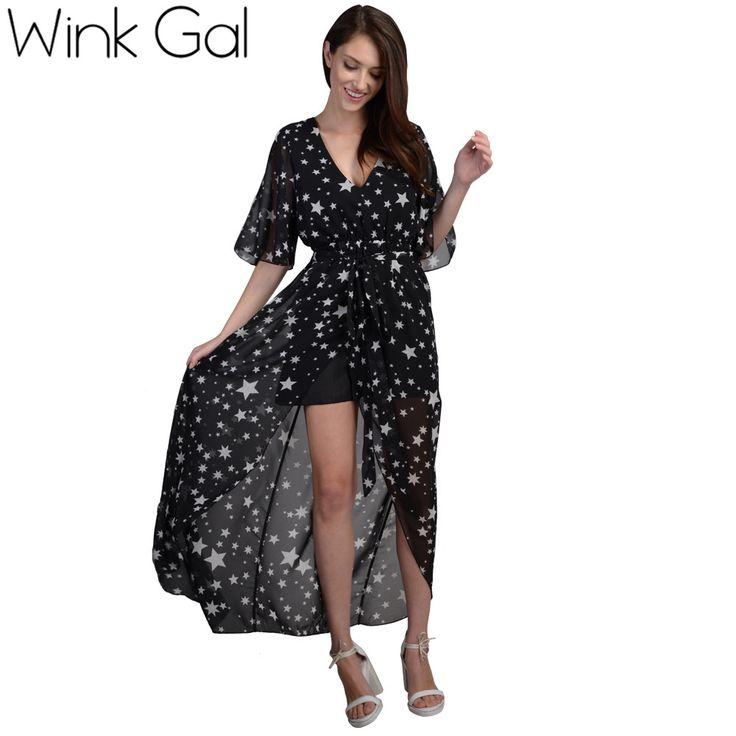 Wink Gal Summer Style Beach Dress Maxi Dress Star Print Deep V-neck Half Sleeve Black Dresses W10035