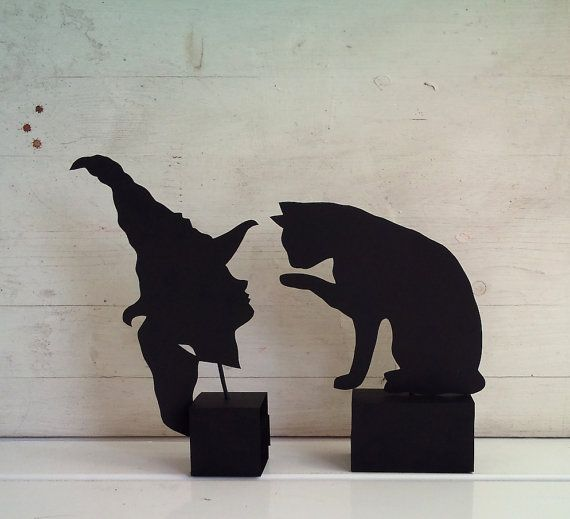 halloween decoration witch and black cat by verycute on etsy 750
