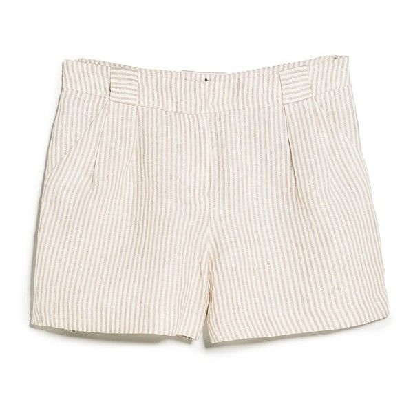 MANGO Striped Linen Shorts (€19) ❤ liked on Polyvore featuring shorts, stripe shorts, striped shorts, mango shorts, linen shorts and short shorts