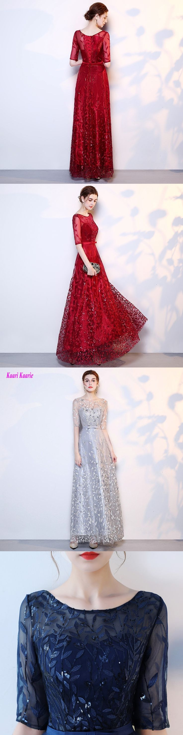 Luxury Silver Evening Gown 2017 New Sexy O-Neck Burgundy Lace Half-Sleeve A-Line Formal Evening Dresses Long Evening Party Dress